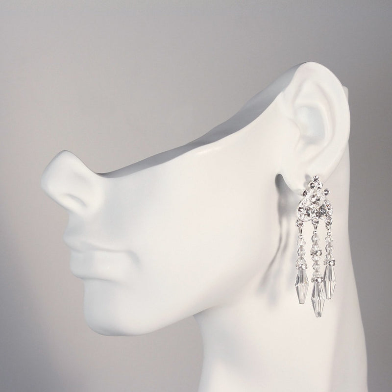 Beaded Crystal Chandelier Earrings on mannequin
