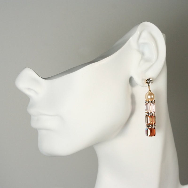 Brown & Champagne Crystal Drop Earrings on mannequin