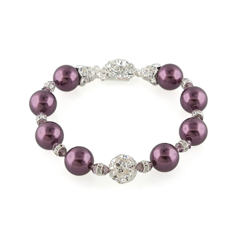 Mauve Pearl Bracelet with Crystal Embellishments