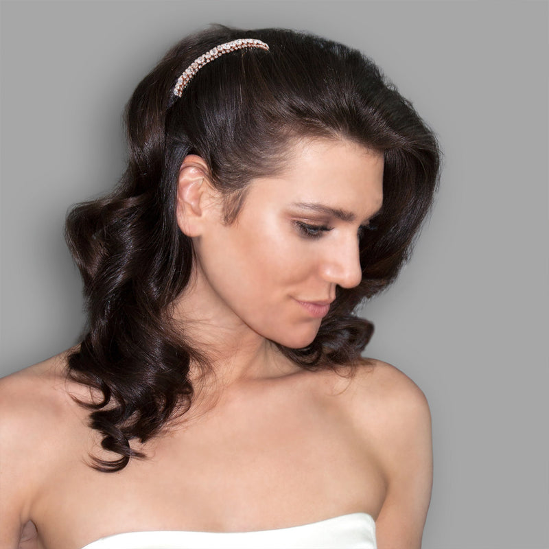 Rose gold Rhinestone Sparkle Haircomb on model