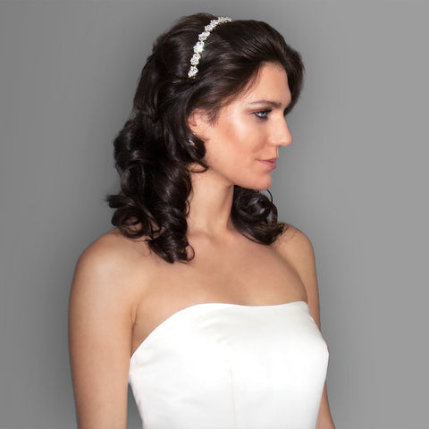 Bridal Headband with Crystal Clusters