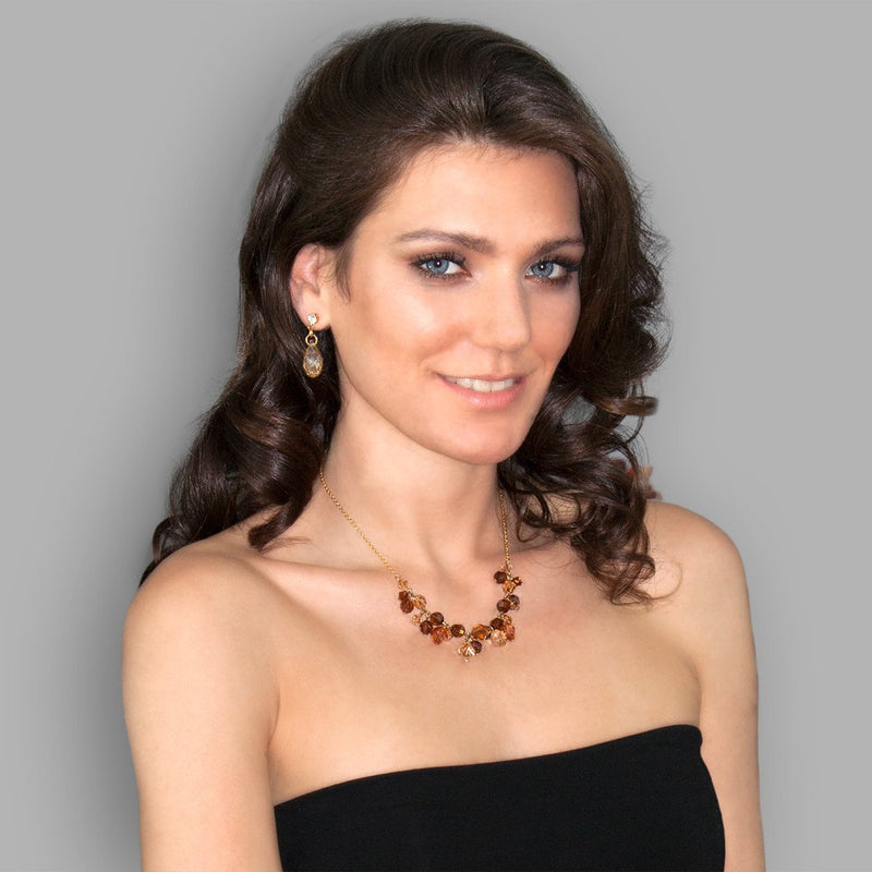 Champagne & Brown Clustered Crystal Necklace on model