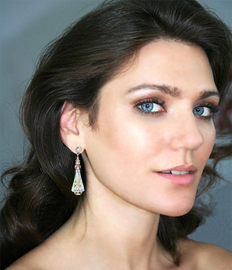 Modern Iridescent Rose Gold Earrings on model
