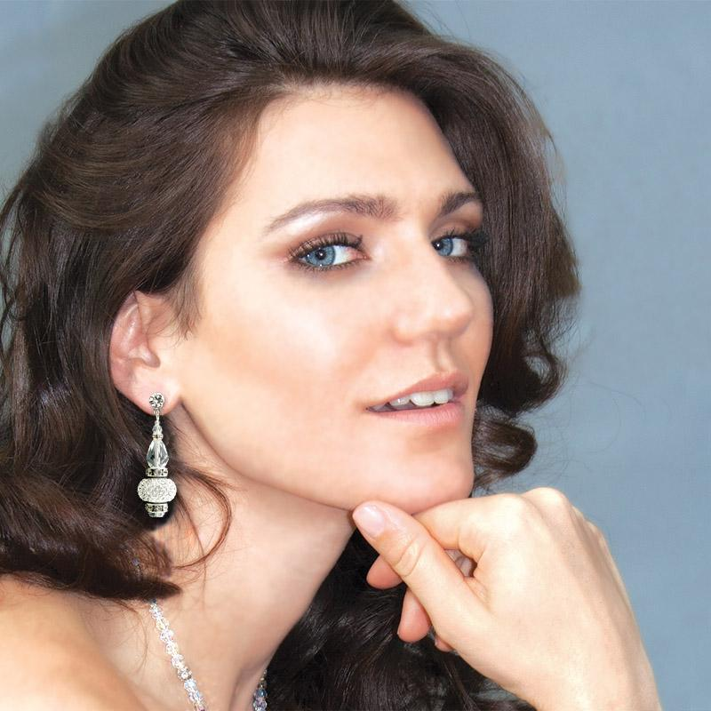 Crystal Drop Earrings with Pavé Charms on model