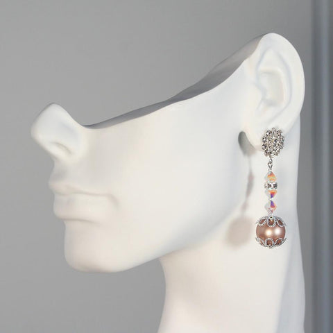 Pink & Champagne Drop Earrings
