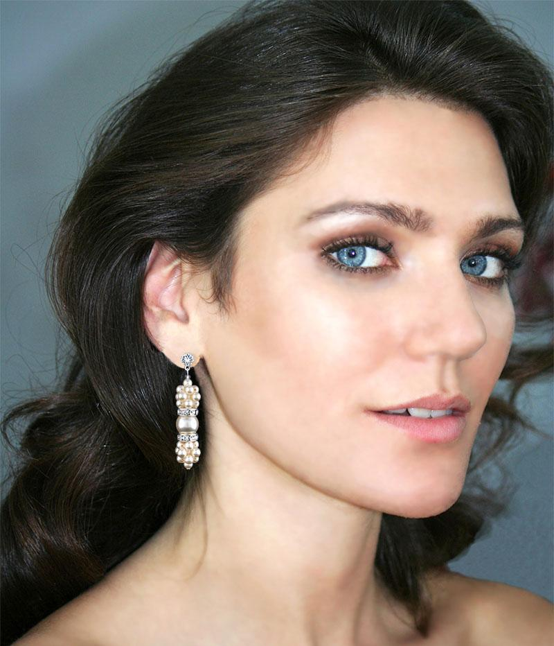 Pearl Cluster Drop Earrings on model