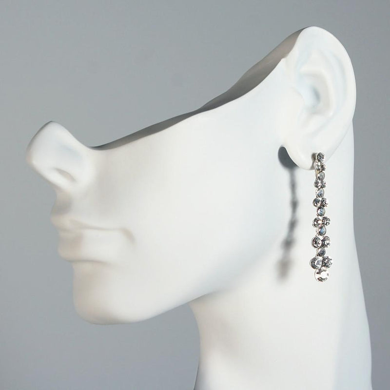 Tapered Rhinestone Drops with Polished Metal