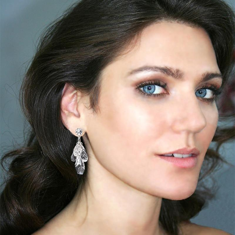 Swarovski crystal cluster earrings on model