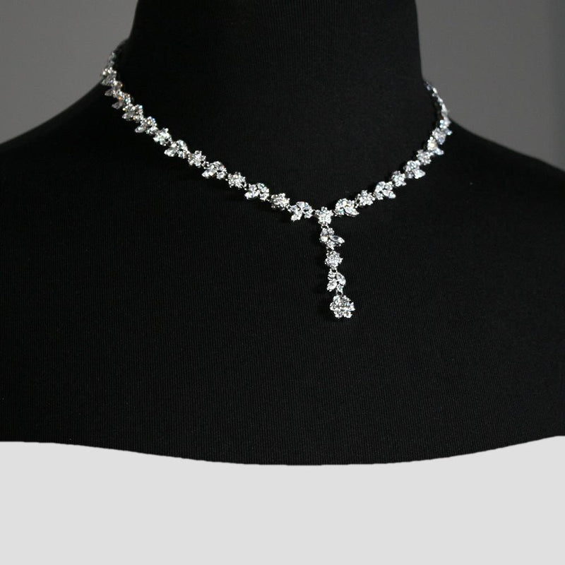 Floral CZ Necklace with Drop