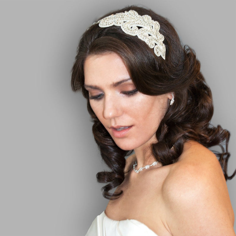Art Nouveau Crystal Headband on model