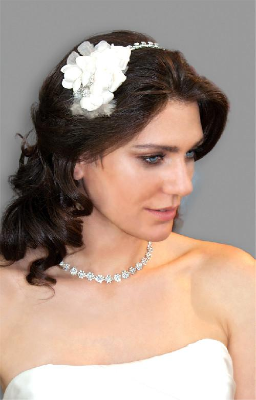 Silk Flower Headband with Feather