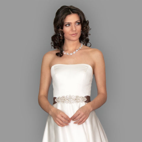 Bridal Sash with Tapered Rhinestone Applique