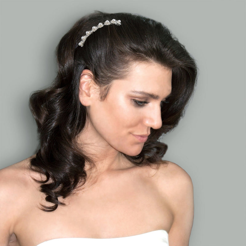 Pearl & Rhinestone Bridal Haircomb on model