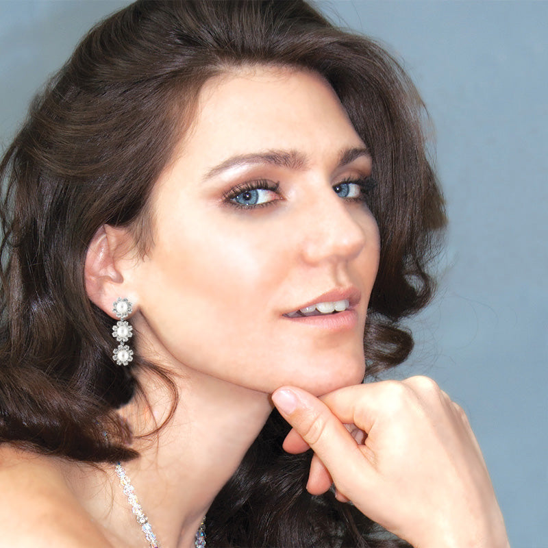 Pearl & Rhinestone Bridal Earrings on model