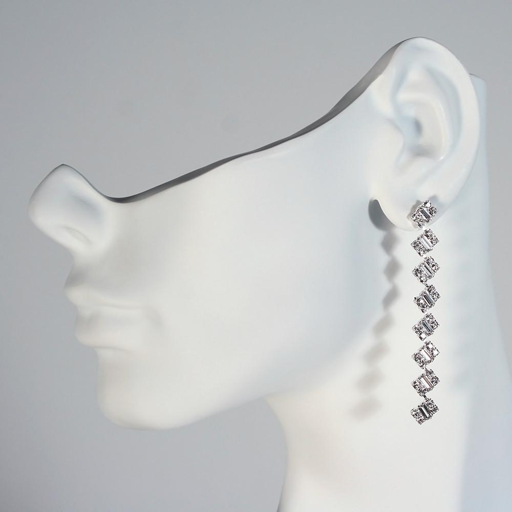 Linear Drop Earrings with Baguettes