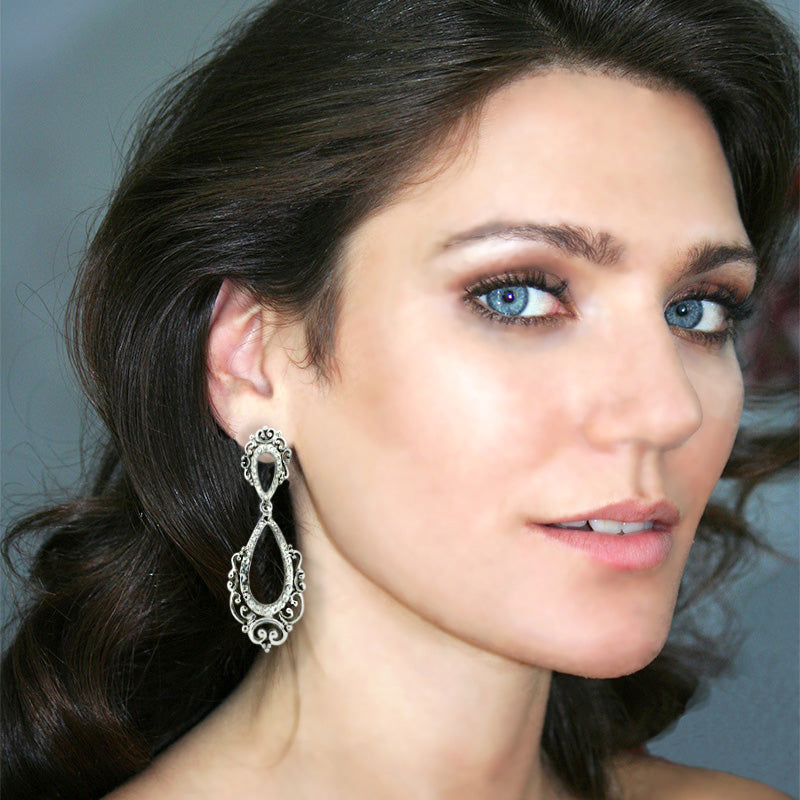 Vintage Style Statement Earrings on model