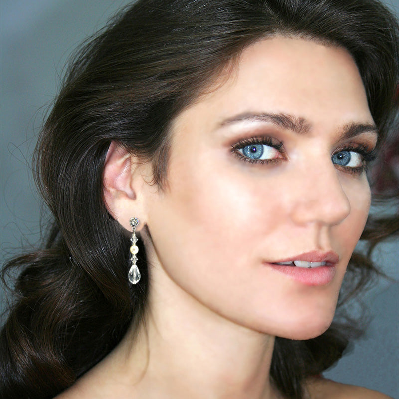 Crystal Drop Earrings with Pearl Center on model