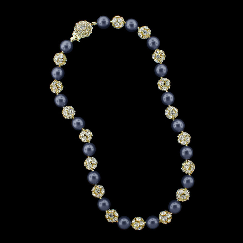 Navy pearl and gold rhinestone bead necklace