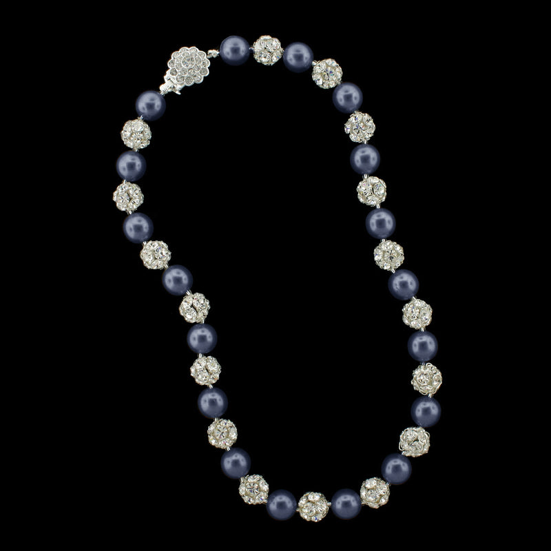 Navy pearl and silver rhinestone bead necklace