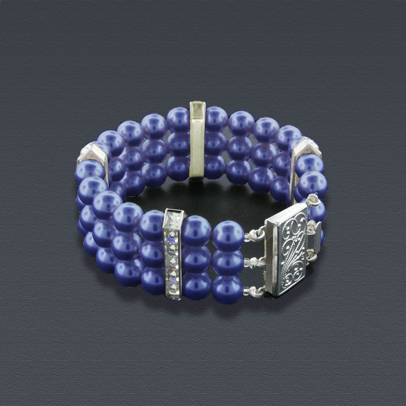 3 Row Navy Pearl Bracelet with Princess Cut Crystals