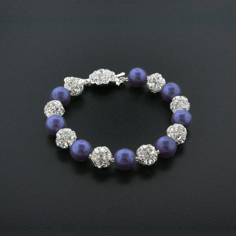 navy pearl bracelet with rhinestone beads