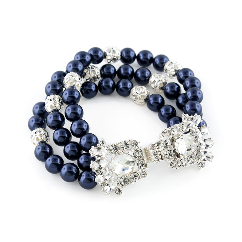 3-Row Pearl Bracelet with Fancy Clasp - navy