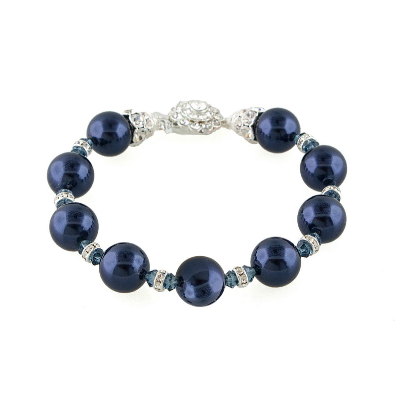 Navy Pearl Bracelet with Crystal Embellishments