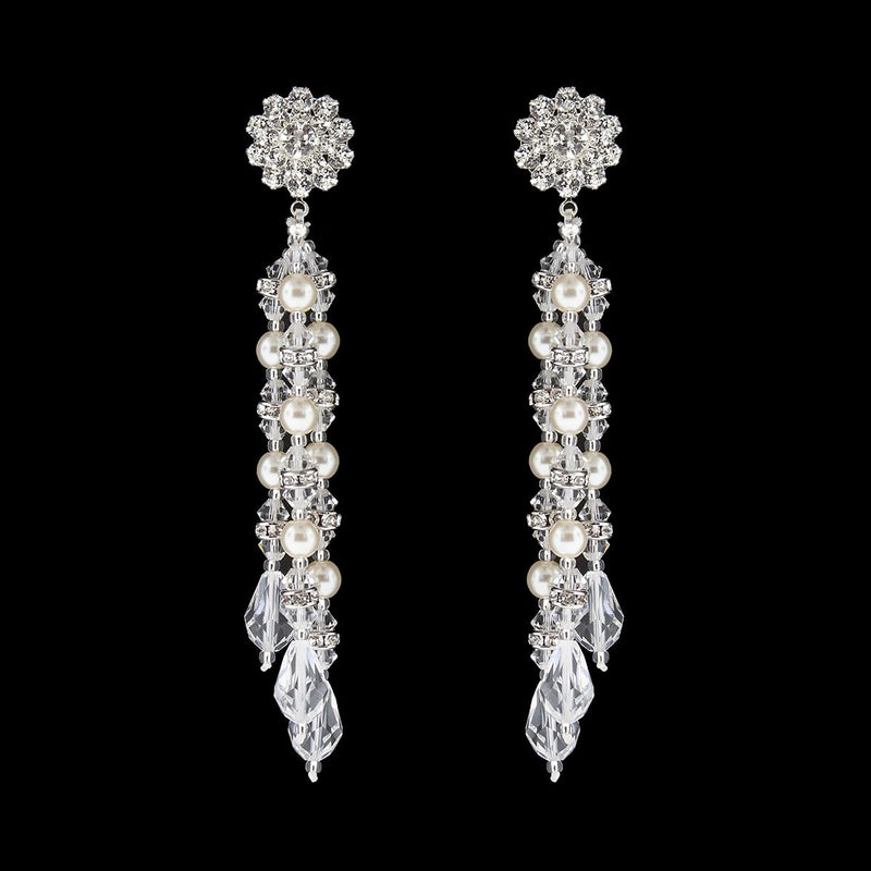 Multi-Drop Beaded Pearl & Crystal Earrings