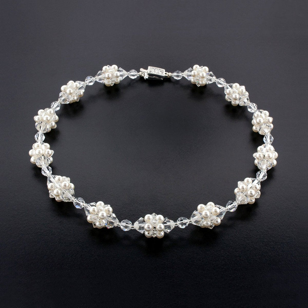 Crystal & Pearl Cluster Necklace