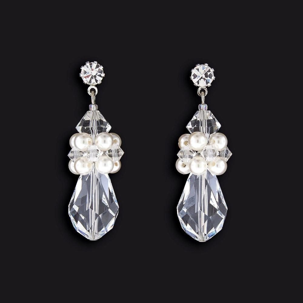 Crystal & Pearl Cluster Earrings