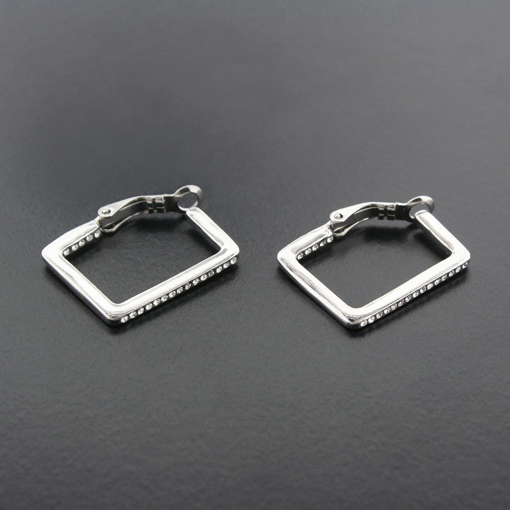 Rectangle Earrings with Crystals