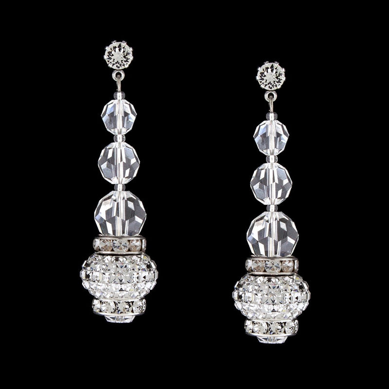 Crystal Drop Earrings with Charms