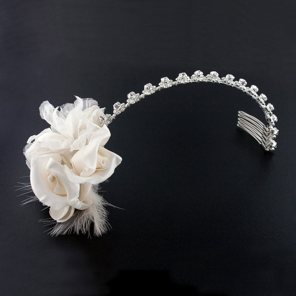 Silk Flower Headband With Feather Giavan
