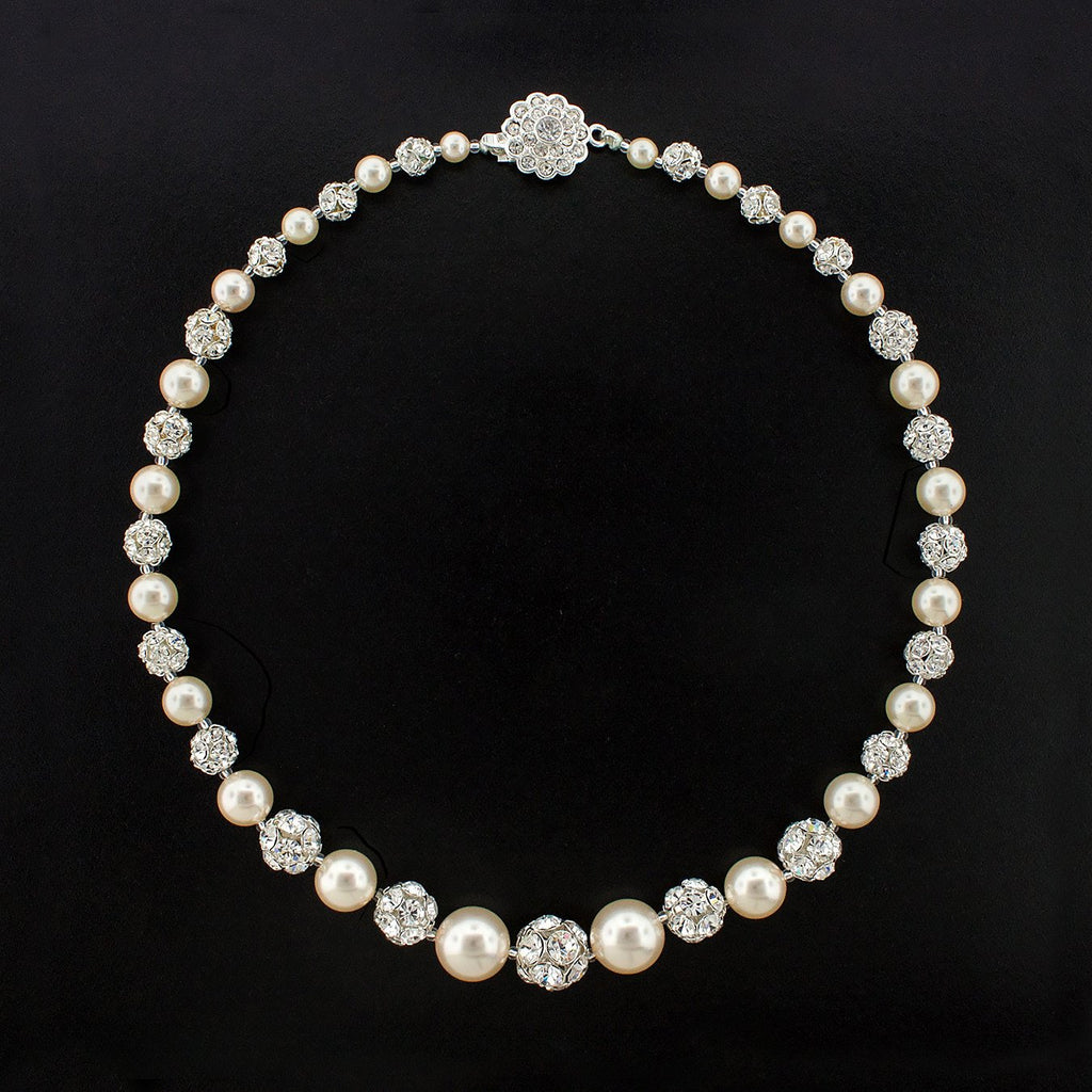 Graduated Pearl Necklace with Rhinestone Beads