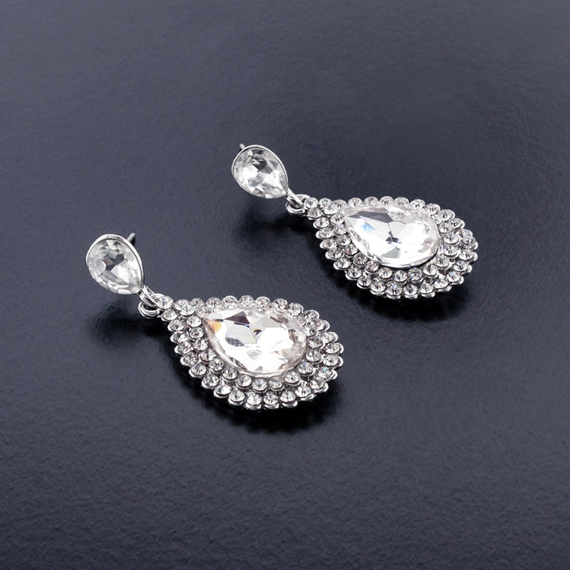 Rhinestone teardrop earrings silver