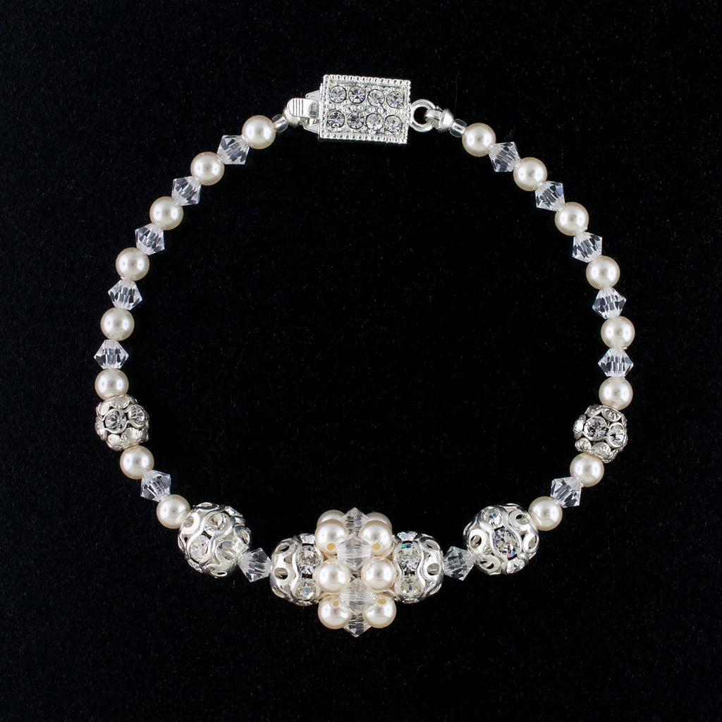 Beaded Wedding Bracelet with Center Cluster