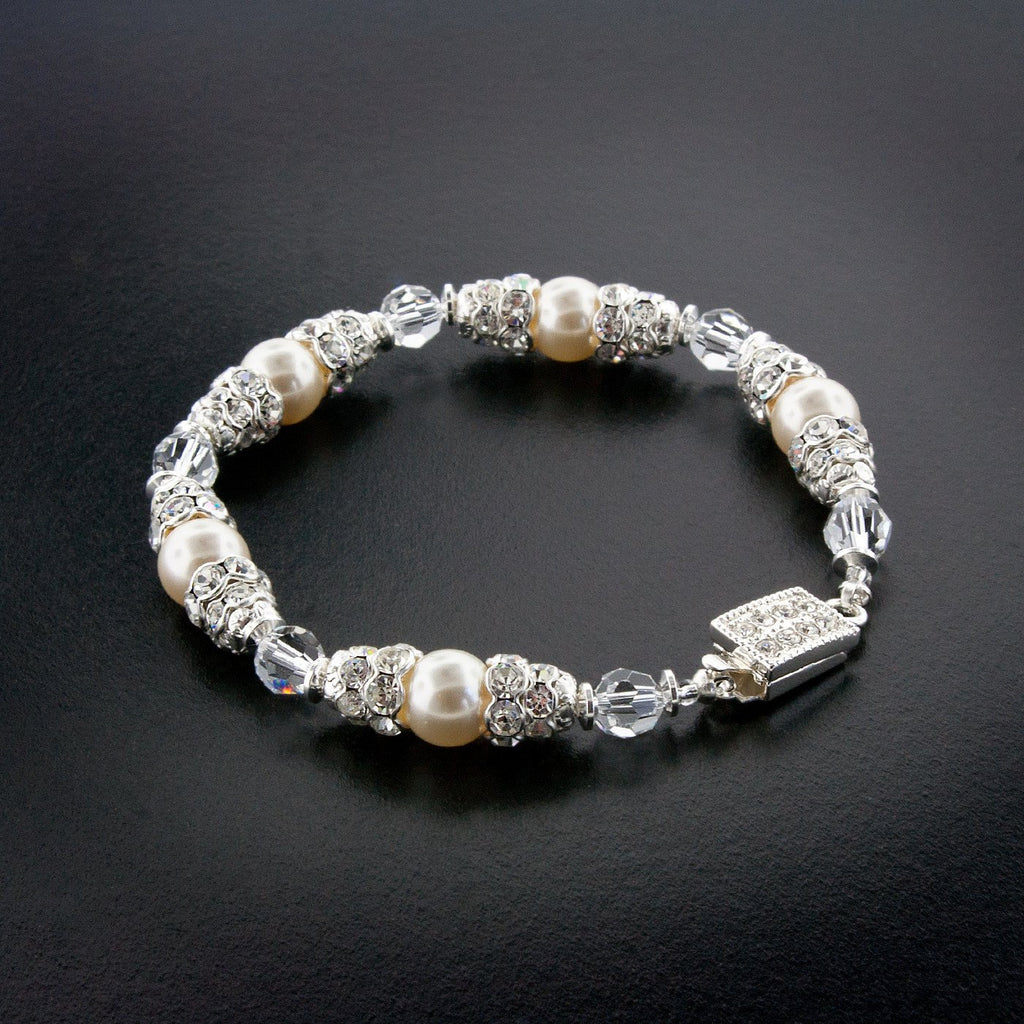 Pearl & Crystal Bridal Bracelet with Rondelles