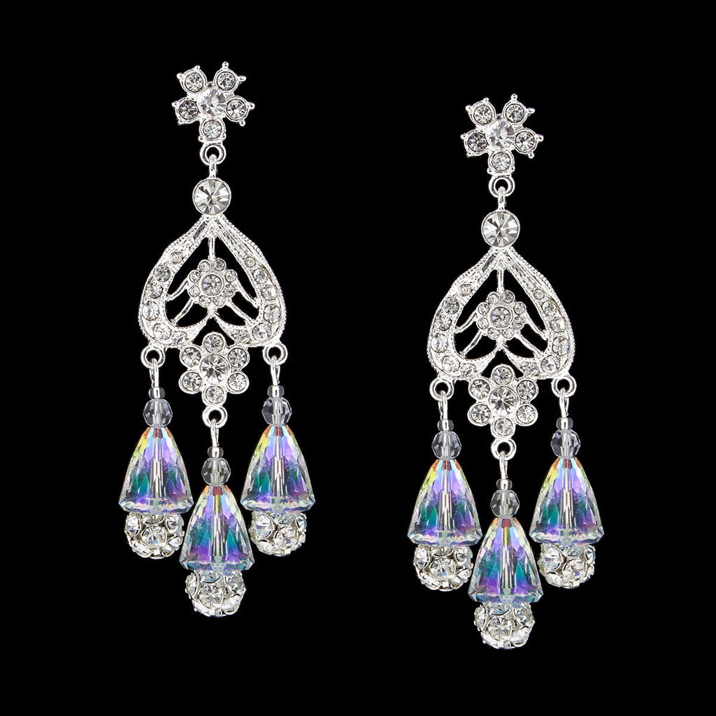 Statement Chandelier Earrings with Iridescent Crystal