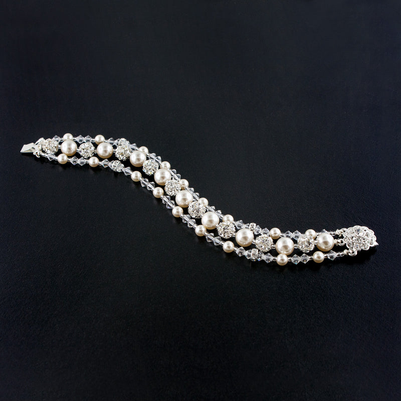 Three Row Beaded Wedding Bracelet