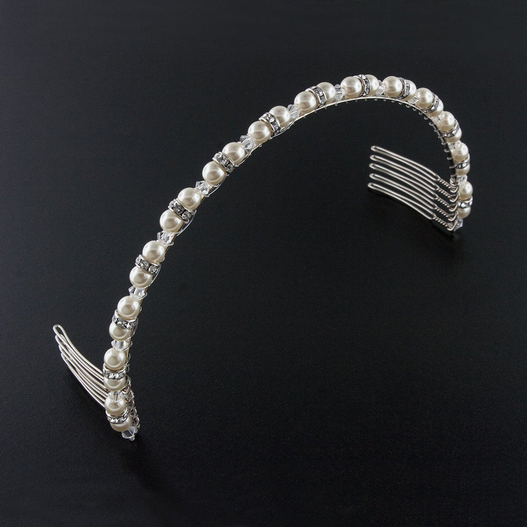 Beaded Pearl & Crystal Bridal Headband - cream