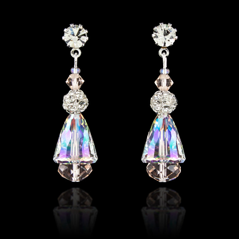 Iridescent Crystal Drop Earrings - silver