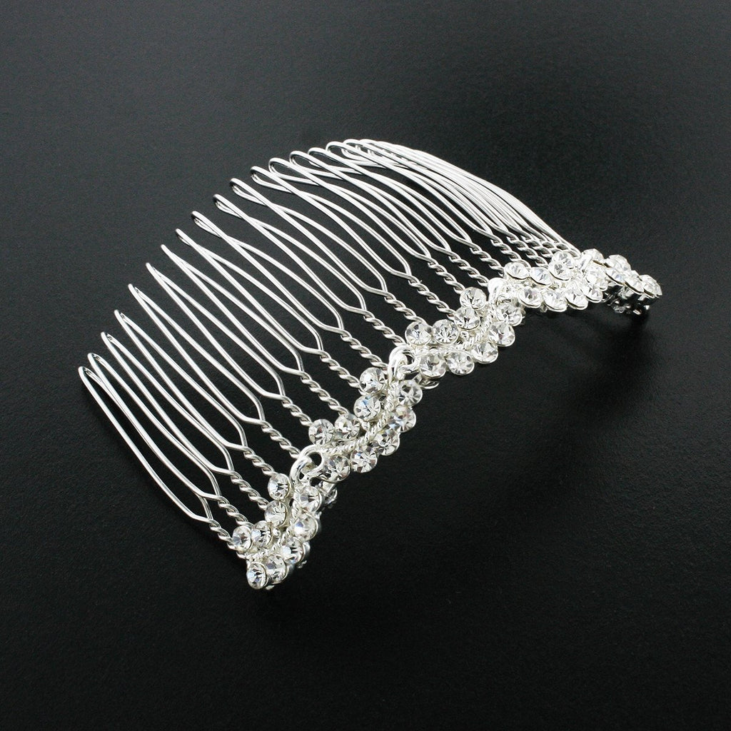Bridal Haircomb with Rhinestone Clusters