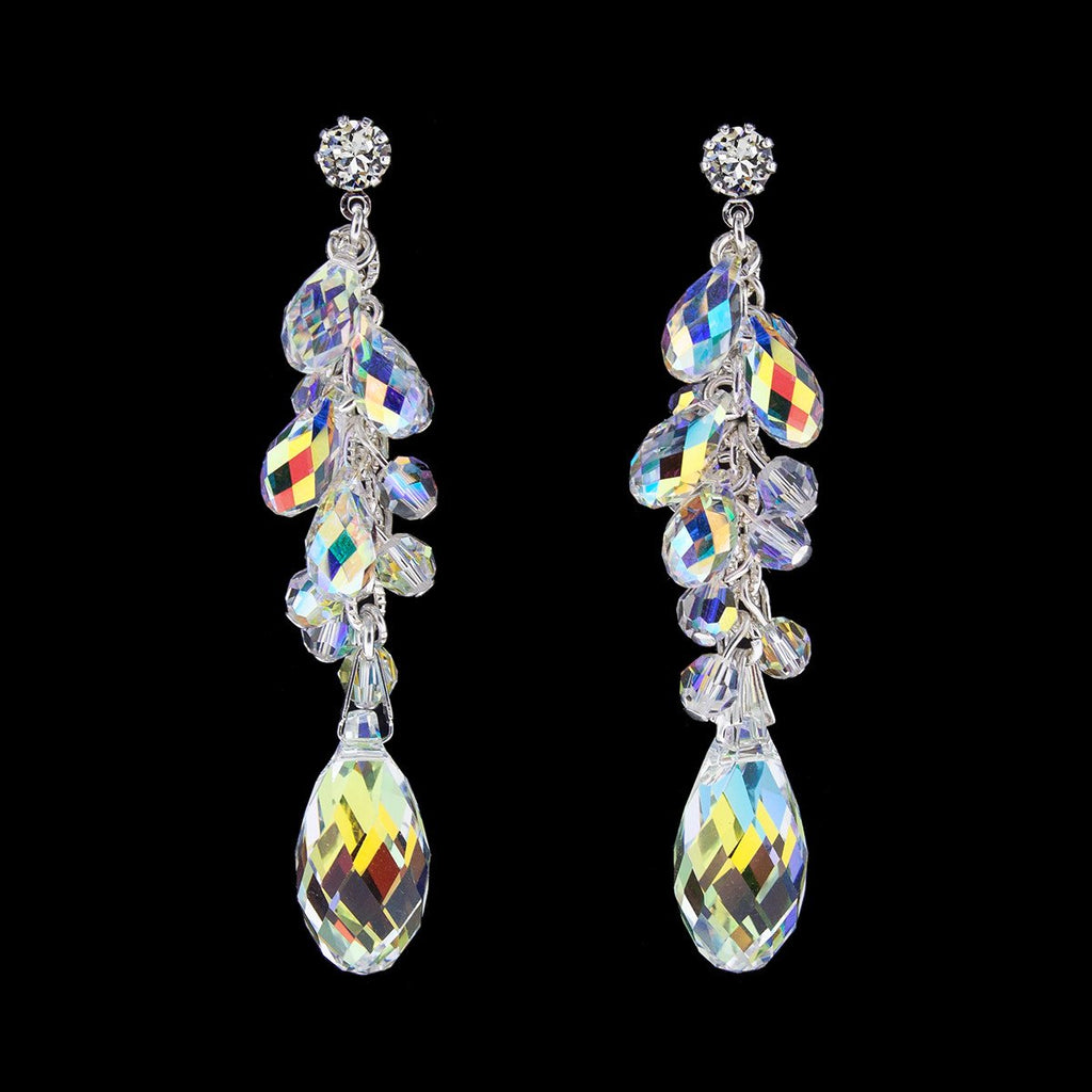 Iridescent Clustered Briolette Drop Earrings