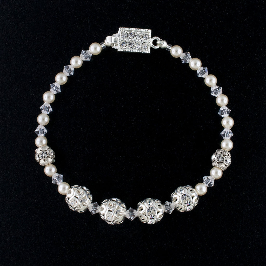 Beaded Wedding Bracelet without Center Cluster