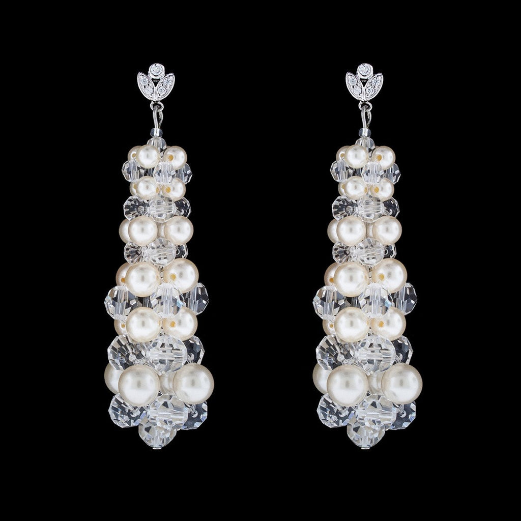 Crystal & Pearl Woven Drop Earrings