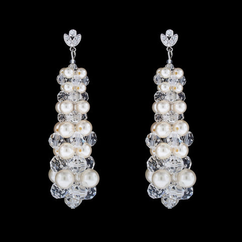 Tapered Crystal & Pearl Drop Earrings