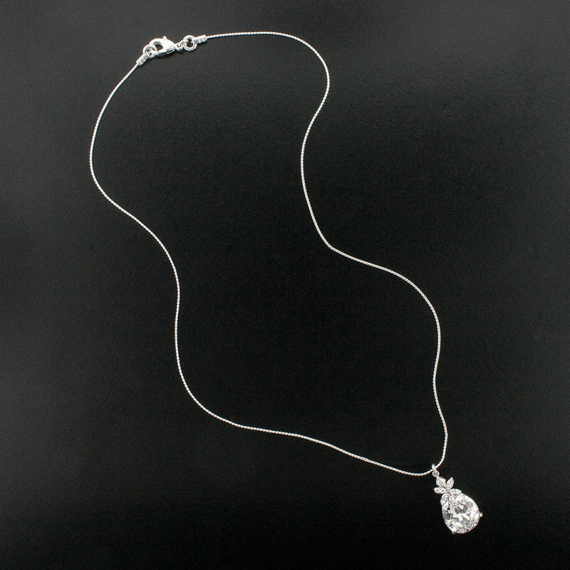 Teardrop Cubic Zirconia Pendant on Chain