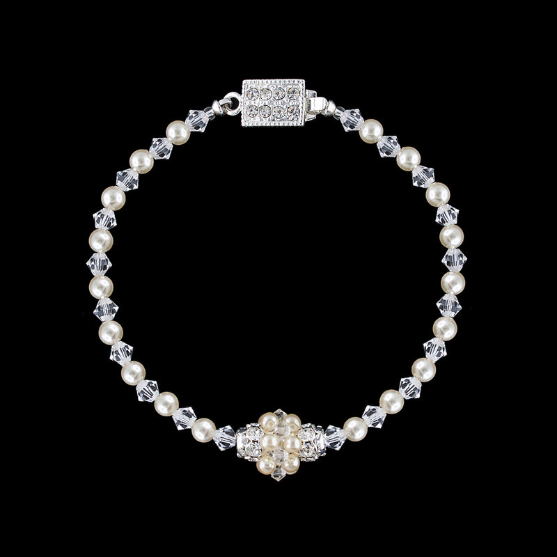 Pearl & Crystal Single Cluster Bracelet - cream/silver