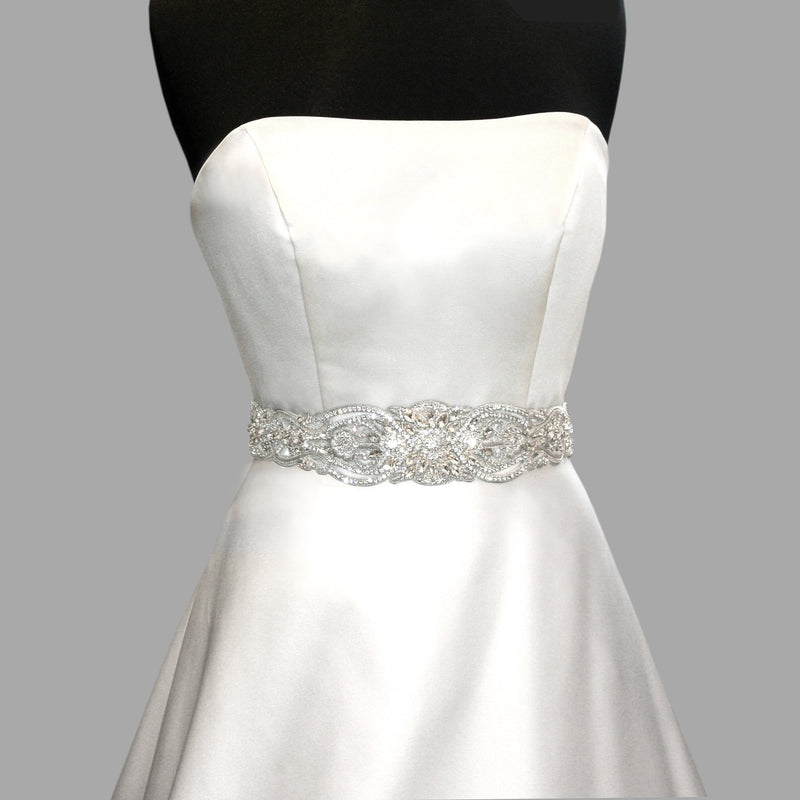 Bridal sash with cutouts on mannequin