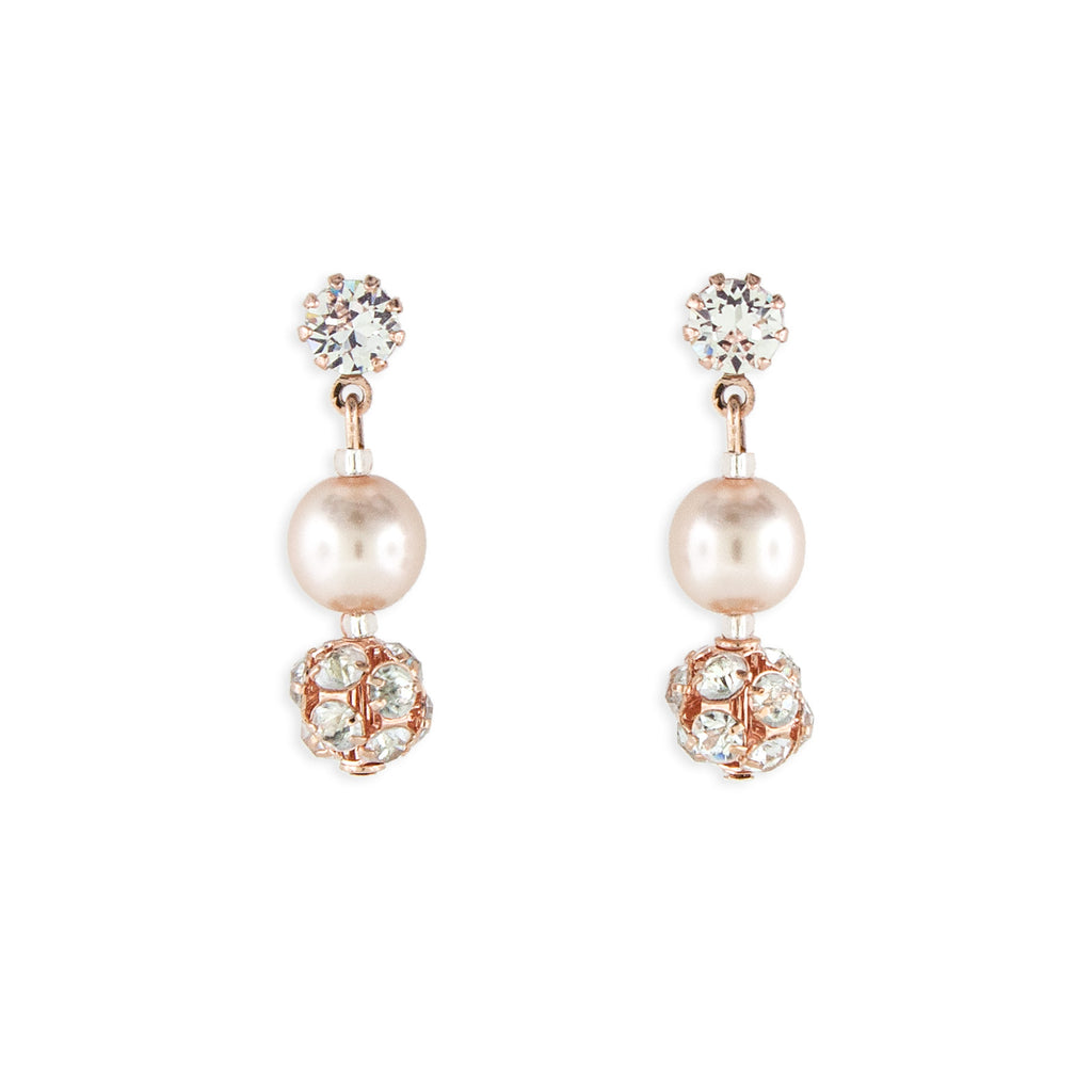 Rose Gold Pearl Earrings - 1.25""